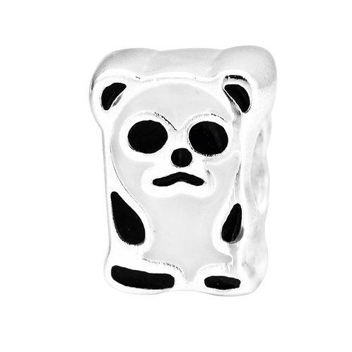 567445 Bellini zilveren bedel emaille beer wit-zwart