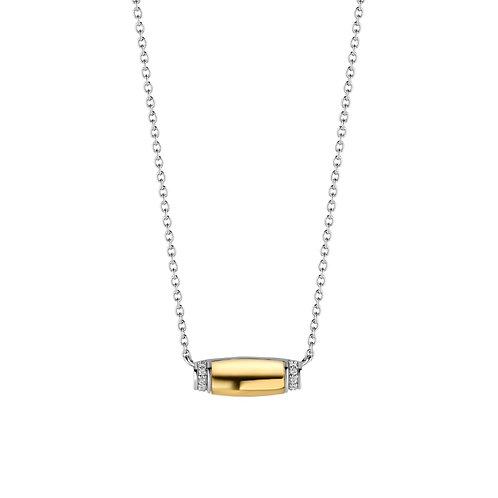 3943ZY/42 Ti Sento zilver verguld collier met zirconia