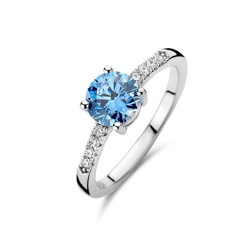 629690 Rosa di Luca zilveren ring met blauwe zirconia