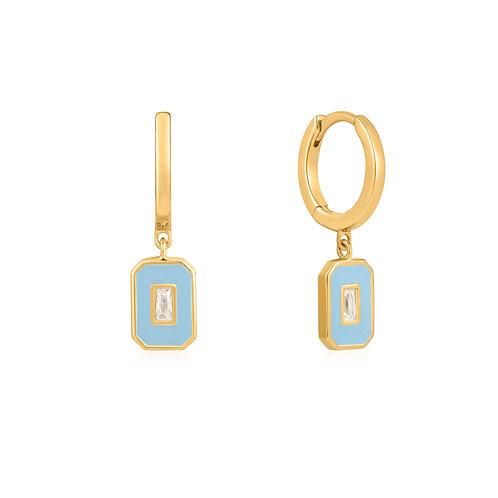 E028-03G-B Powder Blue Enamel Emblem Gold Hoop Earrings