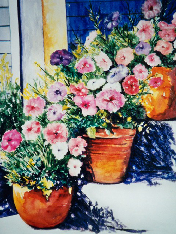 Petunias on Front Steps - Watercolor