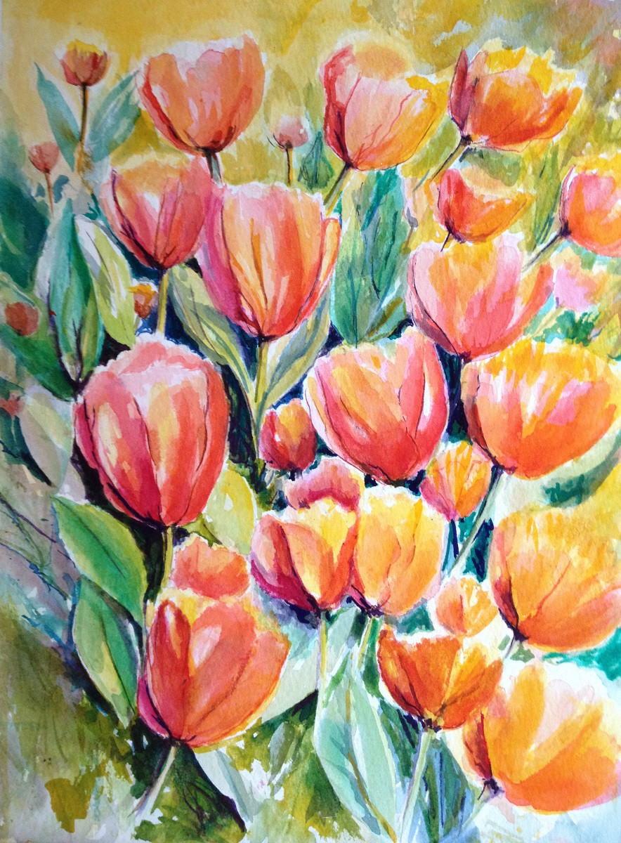 Tulip Garden - Watercolor