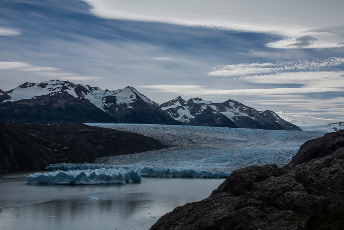 Eastern front of Grey Glacier often showing ice calving