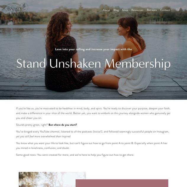 Sales Page, StandUnshaken Membership