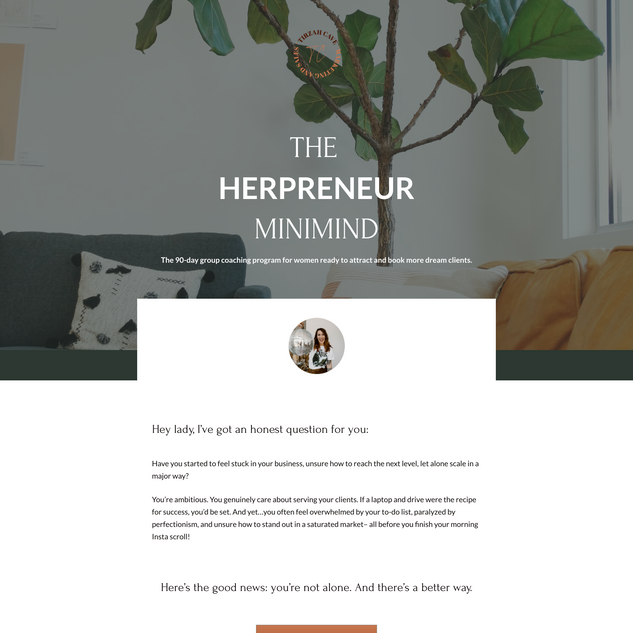Sales Page, The Herpreneur Minimind with Tirzah Cave