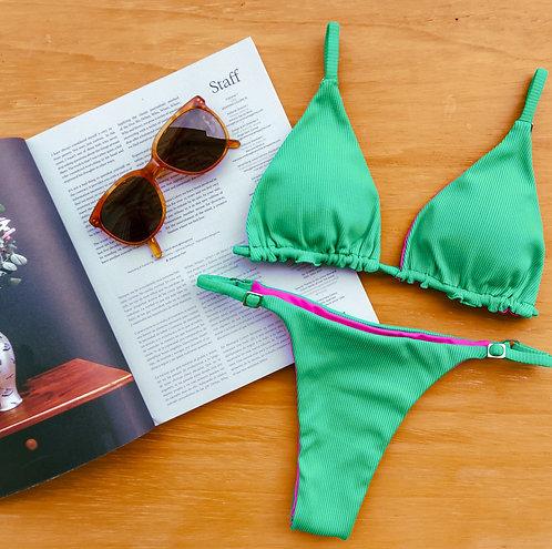 sutiã bikini cortininha dupla face esmeralda com rosa