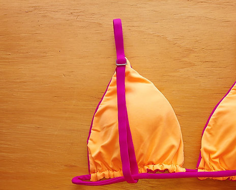 sutiã bikini cortininha dupla face rosa jambo com laranja