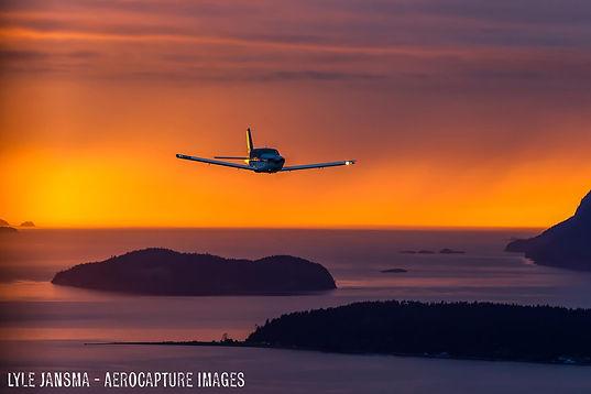 Memorial Sunset Flight over San Juan Islands Celebration of life copyright Lyle Jansma