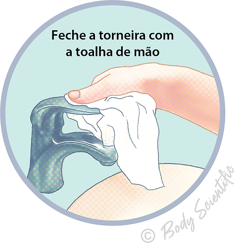 Feche a torneira com a toalha de mão