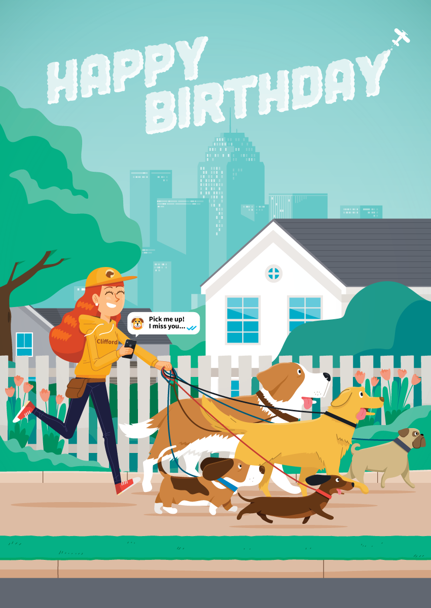 pet lover, dog walker, start up, greeting card, illustration, flat vector, dogs, dog, golden retriever, pug, weaner dog, happy birthday,