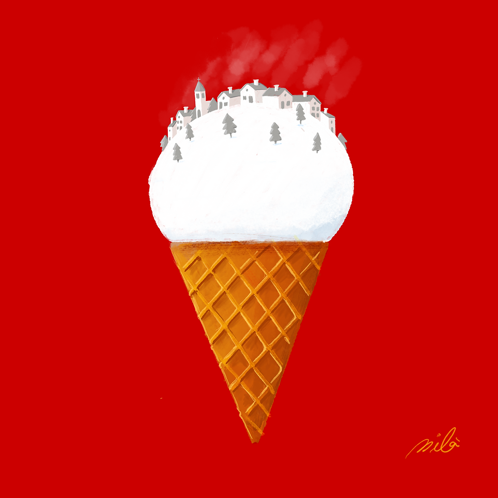Illustration of an Italian ice cream with a Spanish town on top covered by snow.