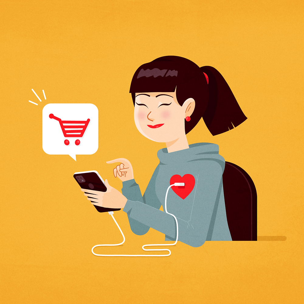 Illustration of a woman with a smartphone connected to her heart while she makes an online purchase.