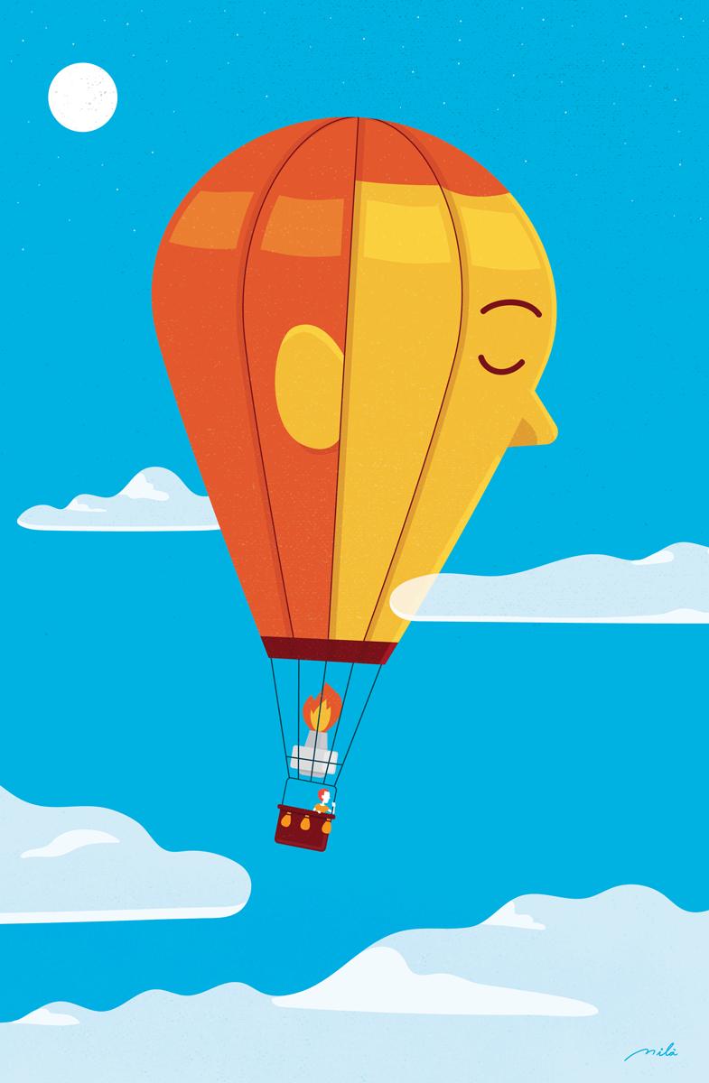 balloon, illustration, vector illustration, ilustrador español, spanish illustrator, costa rican illustrator, ilustrador tico, ilustrador latinoamericano, sweetrush, calendar, spirituality, espiritualidad, azul, nubes, globo, clouds, balloon, conceptual illustration, conceptual,