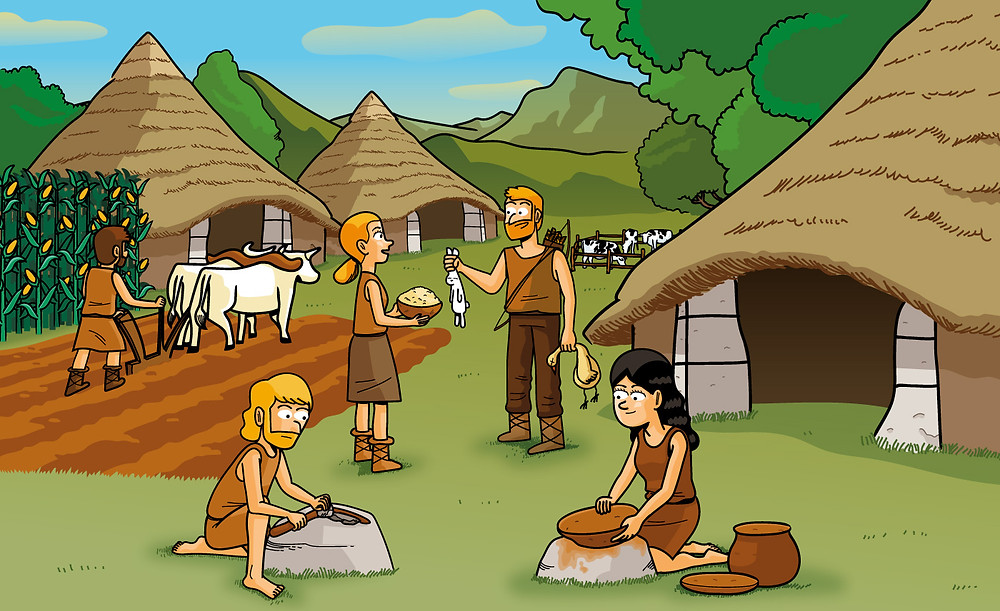 neolithic, illustration, editorial, oxford, oxford university press, learning book, social science, alejandro mila, alejandromila, milà, drawing,