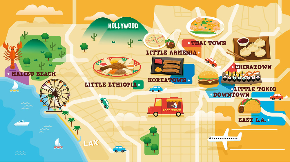 illustration, spanish illustrator, ilustrador español, ilustradores españoles, ilustradores latinos, ilustradores latinoamericanos, latin illustrators, los angeles, los angeles map, los angeles foodie map, illustrated map, vector map, best vector map, best vector, vector illustration, map, foodie, los angeles, malibu beach, koreatown, little tokio, downtown, chinatown, east l.a., illustration, dibujo, ilustración
