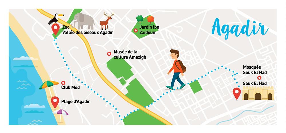 agadir, map, vector, flat vector, morocco,