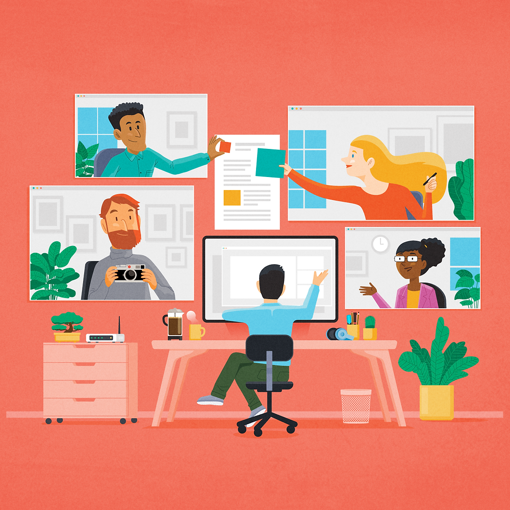 Illustration of a creative director working remotely with a group of designers.