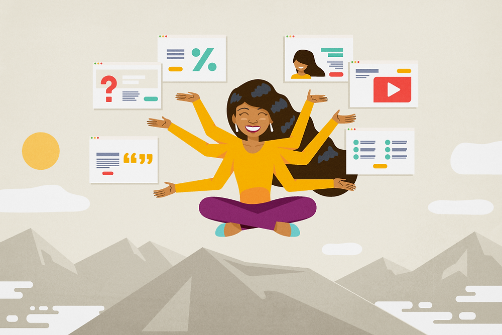Woman on top of the mountain acting as a Hindu goddess with many arms handling lots of landing pages.