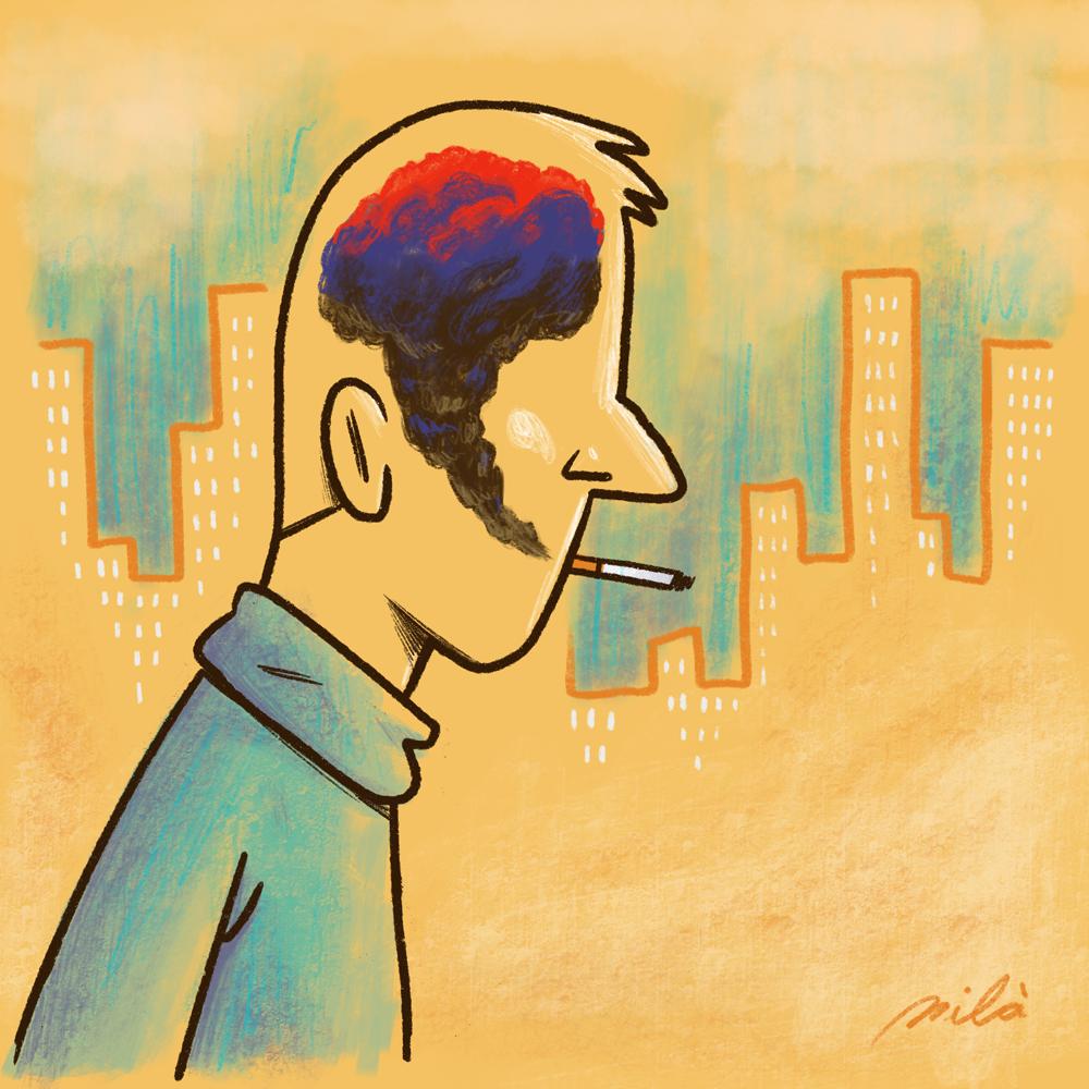 illustration, conceptual, city, brain, thoughts, smoke, cigarette, costa rica, barcelona,