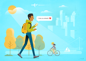 illustration, vector, flat vector, love, monday, walk, bike, city, art, sylvie poggio, drawing, monday, blue monday,