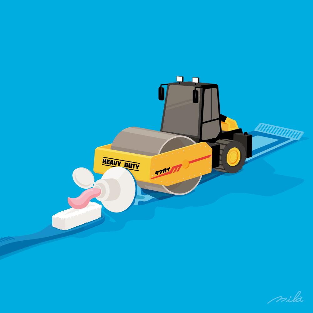 road roller, toothpaste, conceptual illustration, alejandromila
