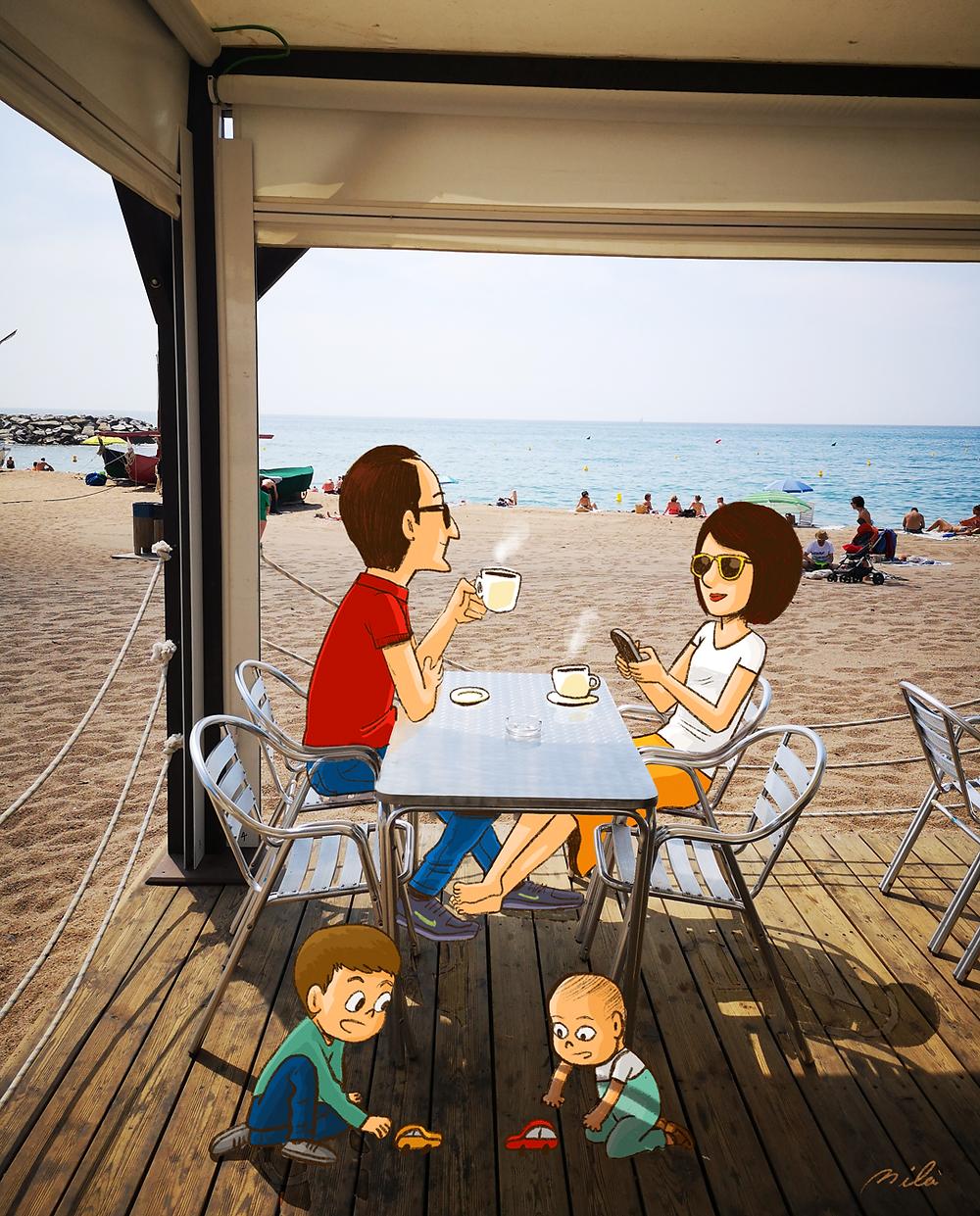 illustration, ipadpro, Barcelona, drawing, procreate, artjournal, art, doodle, sketchbook, santpoldemar, maresme, family, xiringuito, xiringo