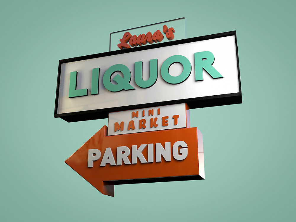 jackie brown, signmonger, vintage sign, illustration, liquor store, mini market, wind, tarantino, woman, turquoise, c4d, cinema4d, 3d, 3d illustration,
