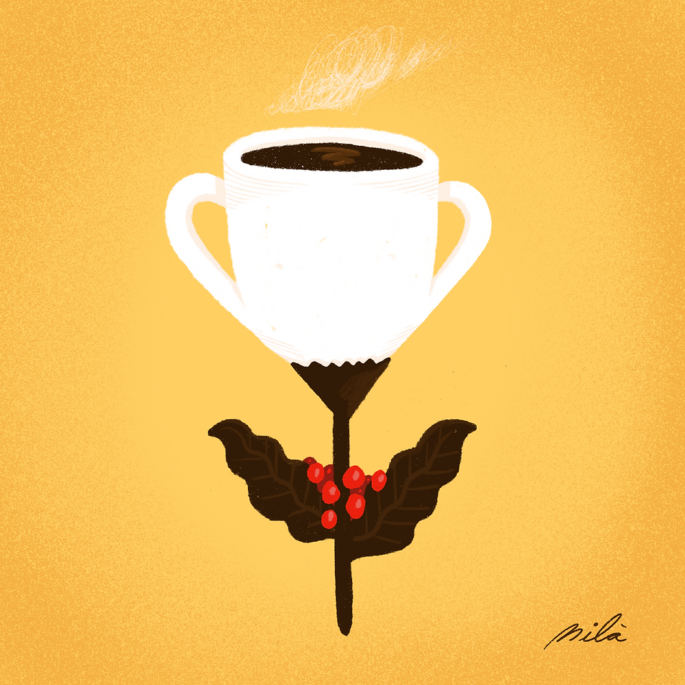 illustration, conceptual, conceptual illustration, coffee, café, mug, costa rica, pura vida,