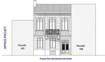Plan de façade maison bordelaise