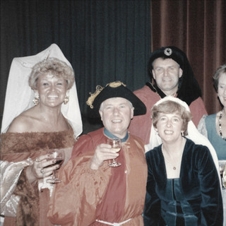 Colin with the ladies at Medieval Banquet - January 1990