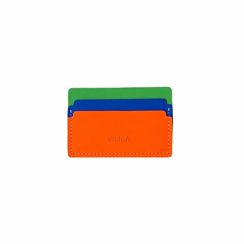 Recycled Leather Cardholder - Green/Blue