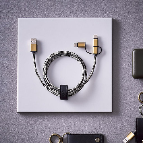 3-IN-1 CHARGING CABLE, CREAM + BLACK