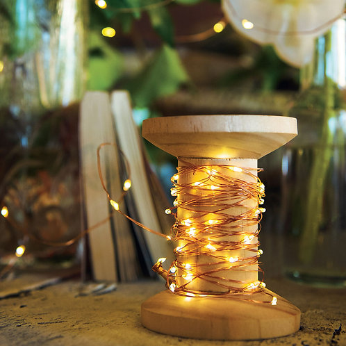 SPARKLING NIGHTS - LIGHTING CHAIN WITH WOODEN SPOOL