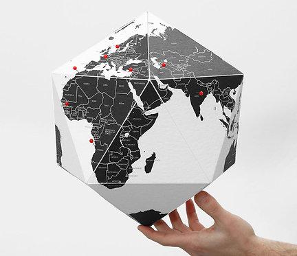 Pin Globe Countries - Black