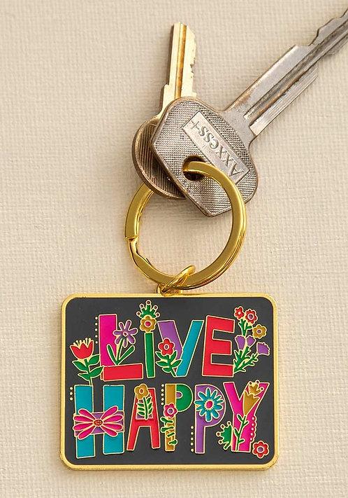Live Happy Enamel Keychain