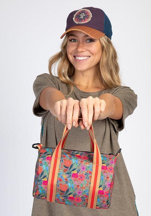 Tan Floral Teeny Tiny Duffle Bag