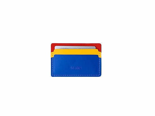 Recycled Leather Cardholder - Blue/Red