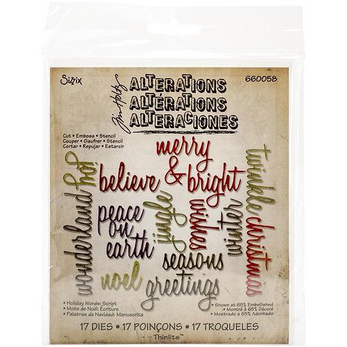 SIZZIZ Thinlets Handwritten Holiday Words