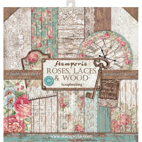 STAMPERIA Paper Pad - Roses, Laces & Wood