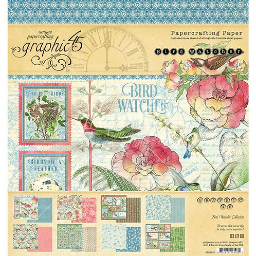 GRAPHIC 45 8x8 Paper Pad - Bird Watcher