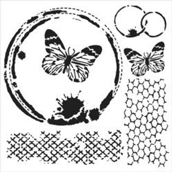 TCW 6x6 Stencil - Butterfly Collage