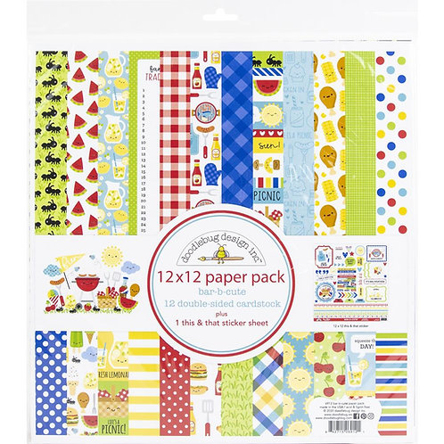 DOODLEBUG Bar B Cute Paper Pack