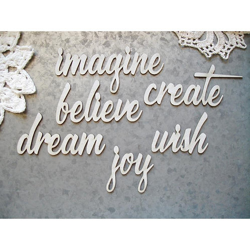 "SCRAPAHOLIC Chipboard - Imagine Words 2""-4.5""X1""-2"""