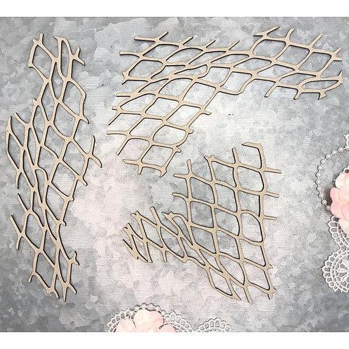 """SCRAPAHOLICS Chipboard -Fish Net Pieces 3/pkg (6""""-2.25"""")"""