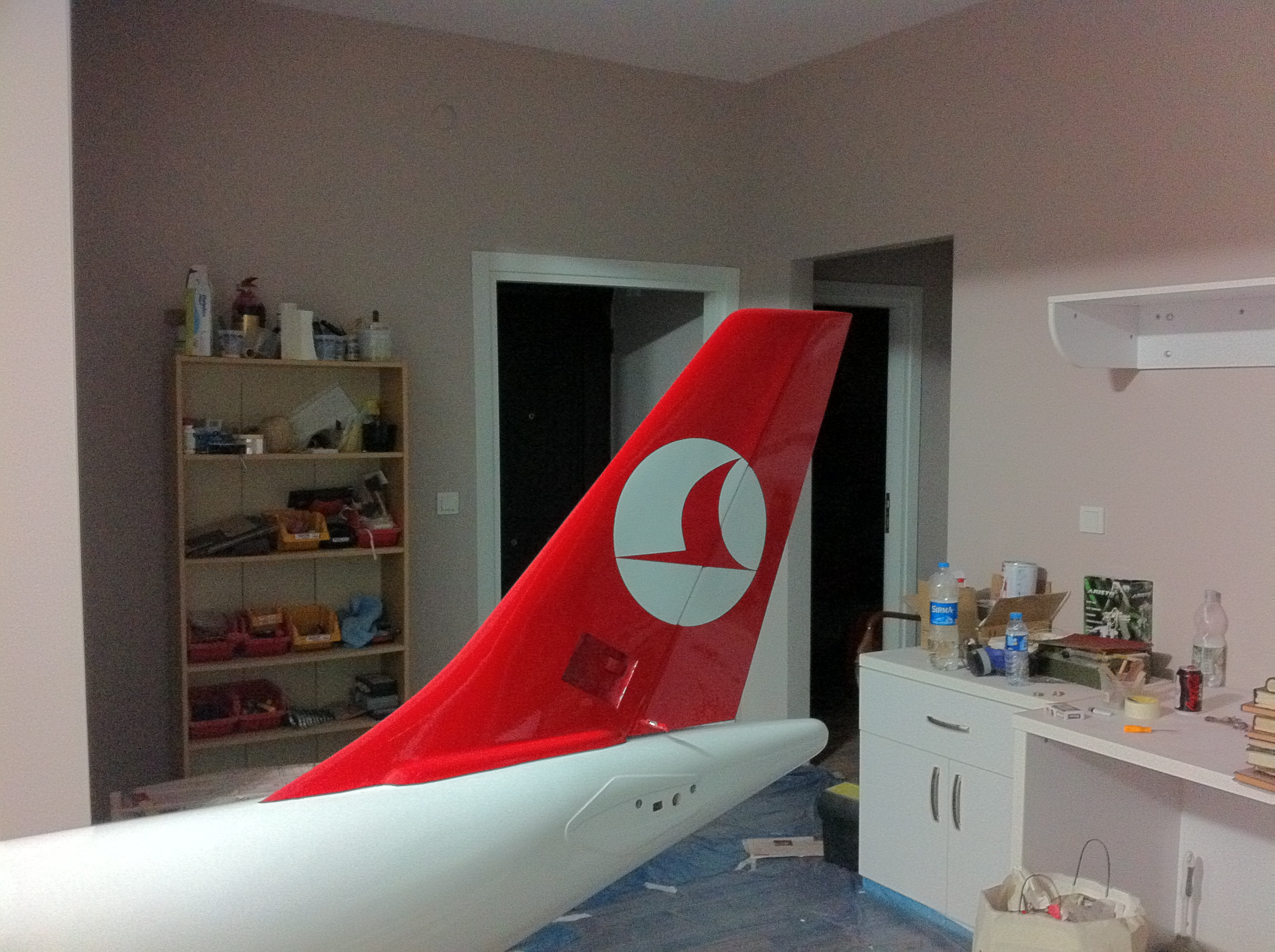 fin and rudder painted