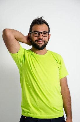 Cuello sencillo masculina Verde neón S