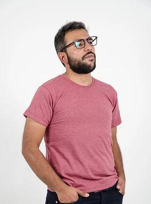 Cuello sencillo masculina Vinotinto jaspe S