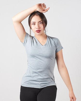 Camiseta cuello V en algodón PIMA femenina