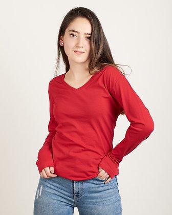 Buso cuello v algodón femenino Rojo L, XL