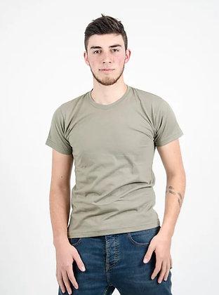 Cuello sencillo masculina Verde hoja seca S